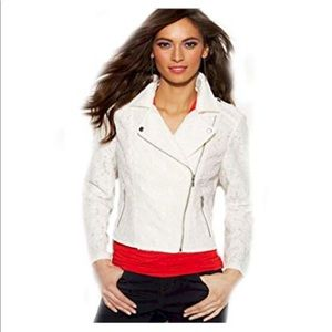 Ivory Lace Moto Jacket Size Large by INC